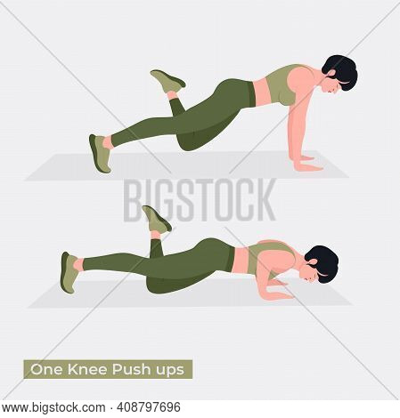 One Knee Push Up  Exercise, Women Workout Fitness, Aerobic And Exercises. Vector Illustration.