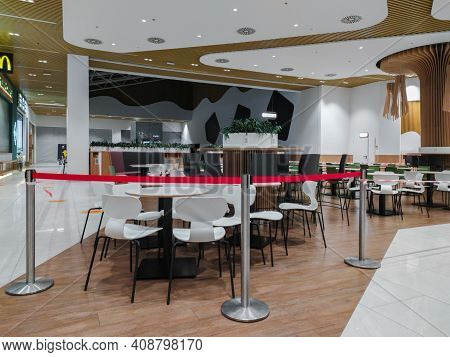 Dnepr, Ukraine- November 22, 2020: Closed Mcdonalds Restaurant Due To Restrictive Measures Against C