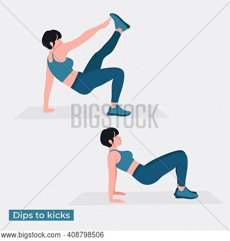 Dips To Kicks Exercise, Women Workout Fitness, Aerobic And Exercises. Vector Illustration.
