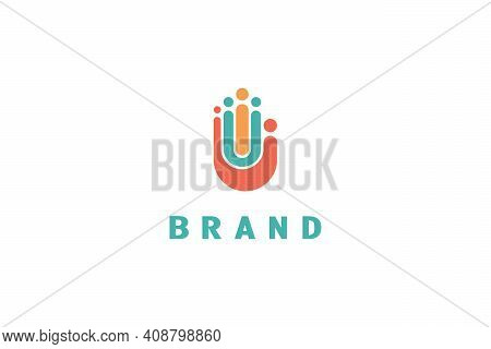 Group People Hand Logo. Logo Of A Group Of People In The Shape Of A Human Palm, Also Consists Of The