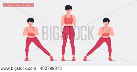 Cursty Lunges Exercise, Women Workout Fitness, Aerobic And Exercises. Vector Illustration.