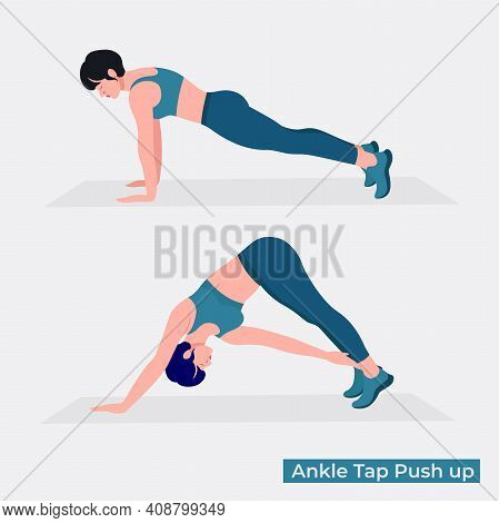 Ankle Top Push Up Exercise, Women Workout Fitness, Aerobic And Exercises. Vector Illustration.