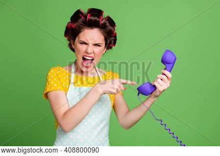 Portrait Of Her She Nice Attractive Fashionable Glamorous Evil Mad Fury Wife Wearing Curlers Holding