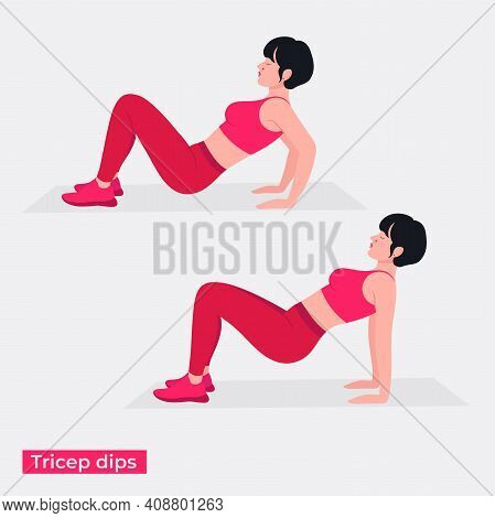 Tricep Curls Exercise, Women Workout Fitness, Aerobic And Exercises. Vector Illustration.