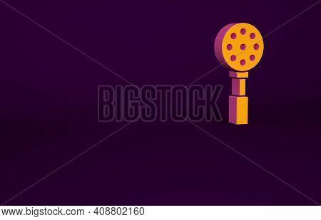 Orange Spatula Icon Isolated On Purple Background. Kitchen Spatula Icon. Bbq Spatula Sign. Barbecue