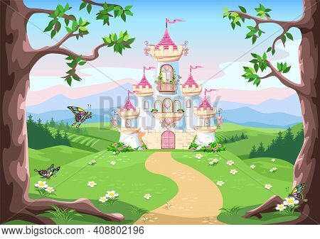Fairy Tale Background With Princess Castle In The Forest. Castle With Pink Flags, Precious Hearts, R