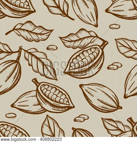 Chocolate Fruit And Leaves Design In Brown Color On Light Brown Background In Vintage Style Monochro