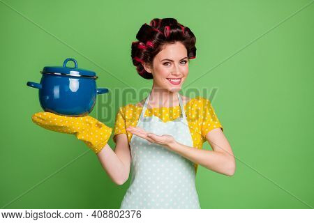 Photo Of Attractive Young Lady Cooking Cheerful Curlers Hairdo Charming Housewife Holding Ready Meal