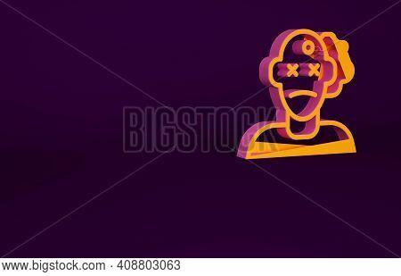 Orange Murder Icon Isolated On Purple Background. Body, Bleeding, Corpse, Bleeding Icon. Concept Of