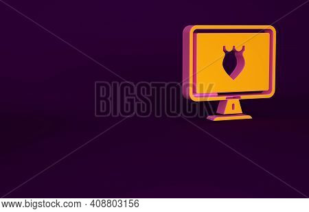 Orange Police Database Icon Isolated On Purple Background. Police Badge On Monitor Screen. Online Po