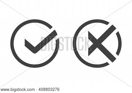Check Mark And Cross Icon. Designation Of Choice For And Against. Voting For The Correct And Incorre