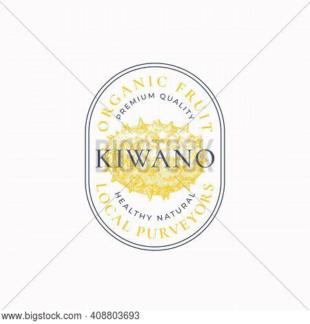 Kiwano Purveyors Oval Frame Badge Or Logo Template. Hand Drawn Fruits Sketch With Retro Typography A