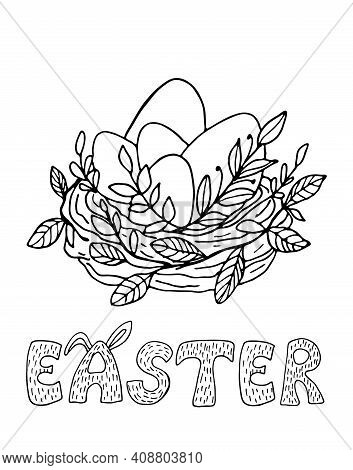 Black Outline Easter Card With Twig Nest, Eggs And Easter Sign. Monochrome Vector Illustration For C