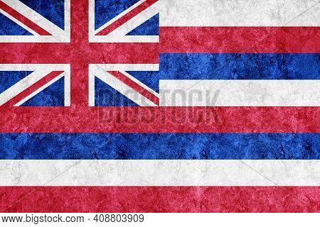 Metallic Hawaii State Flag, Hawaii Flag Background Metallic Texture