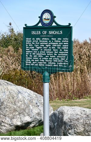 Rye, Nh - Oct 4: Isles Of Shoals Sign At Rye Harbor State Park In Rye, New Hampshire, As Seen On Oct