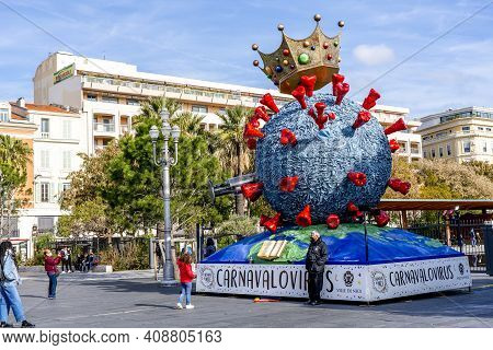 Nice, Cote D Azur, France-18.02.2021: Carnaval De Nice, This Years Theme Carnavalovirus . Sculpture