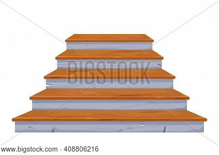 Stone Stairs With Wooden Planks, Fairy Mediaeval Interior Object In Cartoon Style Isolated On White