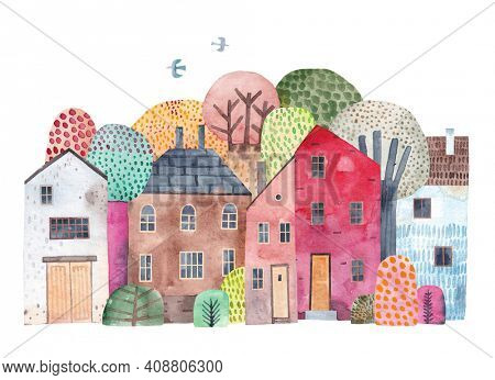 Cute city. Watercolor poster. Painting for the children's room. Old town landscape.
