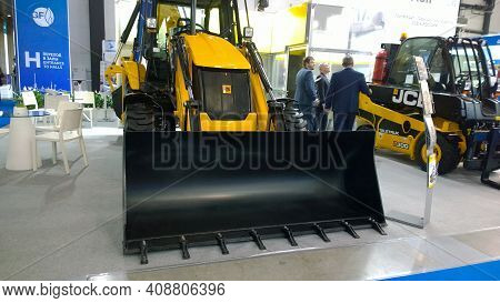 St. Petersburg, Russia - October 1, 2019: Wheel Excavator Loader Jcb At Innovative Industrial Exhibi