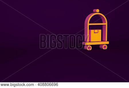 Orange Hotel Luggage Cart With Suitcase Icon Isolated On Purple Background. Traveling Baggage Sign.