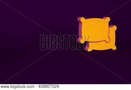 Orange Rectangular Pillow Icon Isolated On Purple Background. Cushion Sign. Minimalism Concept. 3d I
