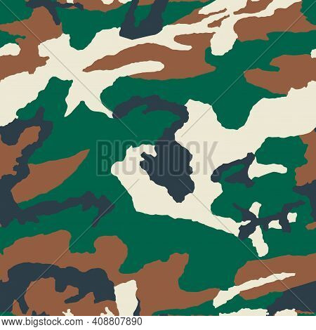 Military Camouflage Texture Khaki Print Background - Vector Illustration