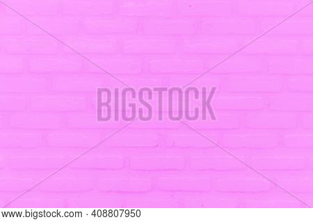 Modern Style Pink Brick Wall Texture For Background. Pink Is On The Surface Of The Old Brick Wall. S