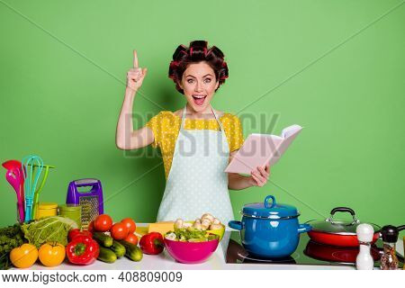 Omg I Know What Cook. Excited Girl Read Cookbook Prepare Ecological Dinner Find Recipe Get Idea Rais
