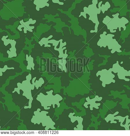 Military Camouflage Texture Khaki Print Background - Vector
