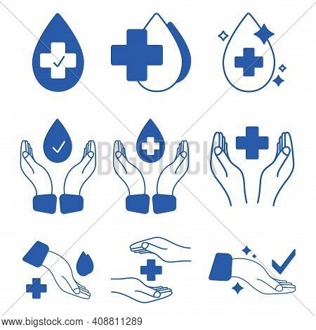 Hand With Water Drop And Medical Cross. Medically Approved Labels. Clinically Tested Insignia Stamp.