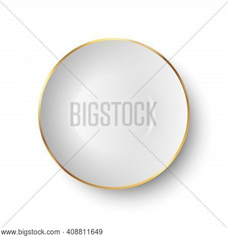 Vector 3d Realistic White Empty Porcelain, Ceramic Plate With Golden Border Icon Closeup Isolated On