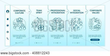 Professional And Social Integration Onboarding Vector Template. Responsive Mobile Website With Icons