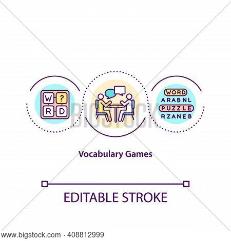 Vocabulary Games Concept Icon. Special Method For Learning New Languages. Flash Cards For Lessons Id