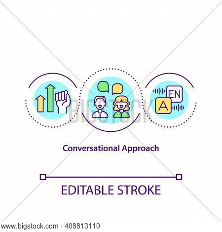 Conversational Approach Concept Icon. Students Have Conversation About Interesting Topic Or Issue. T