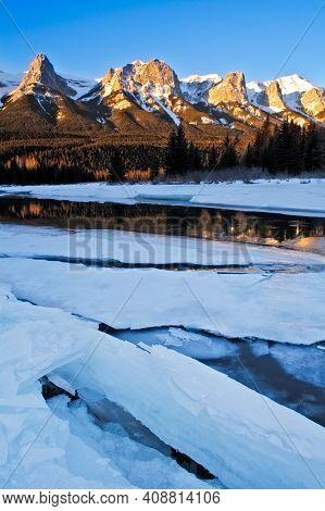 Mount Rundle And The Bow River In Winter From Canmore, Alberta, Canada