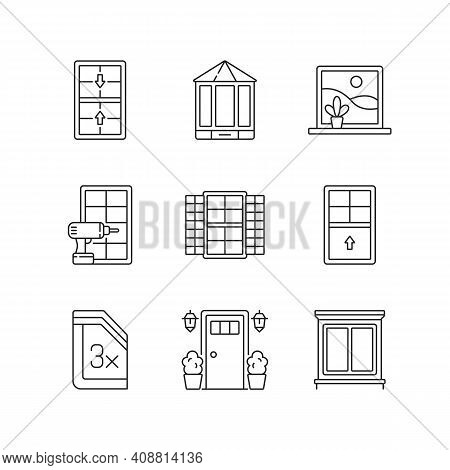 Installation Services Linear Icons Set. Double-hung Windows. Entry Doors. Outside View Maximizing. C