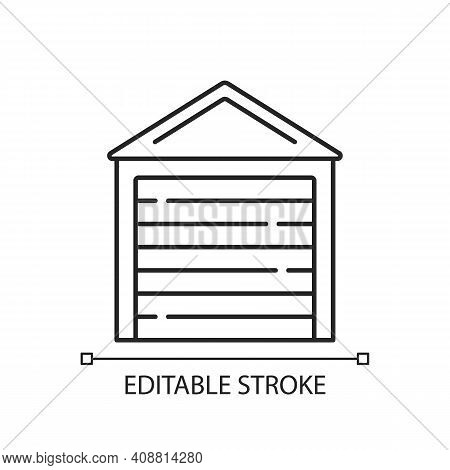 Garage Doors Linear Icon. Storage Space. Parking Car In Garage. Safety, Security Feature. Thin Line