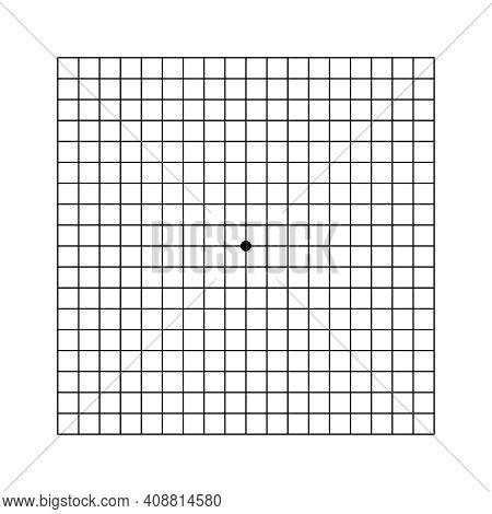 Oculist Amsler Eye Test Grid. Vector Printable Chart Retina Examination. Grid With Dot In Centre. Vi