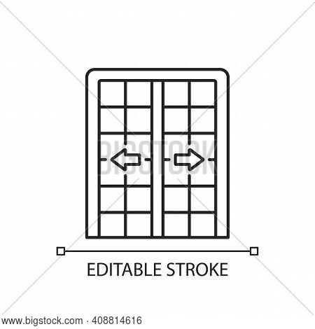 Patio Doors Linear Icon. Sliding Glass Door. Architecture, Construction. Large Window Opening. Thin