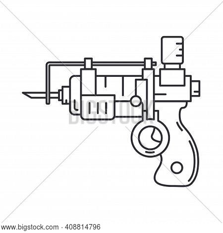 Line Medical Healthcare Art Icon Injection Gun. Professional Equipment Symbol. Science, Pharmacy, Me