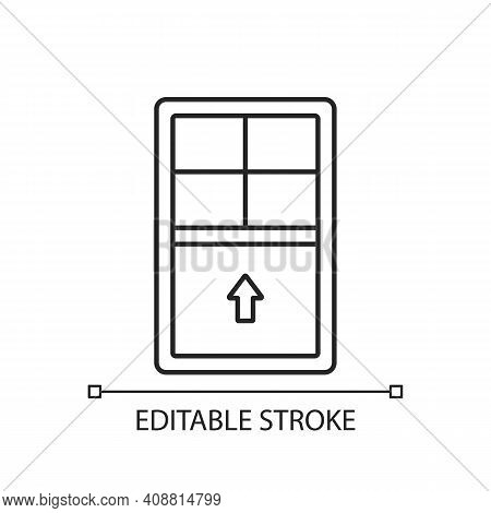 Single-hung Windows Linear Icon. Movable Sash With Raise From Bottom. Vertical-sliding Window. Thin