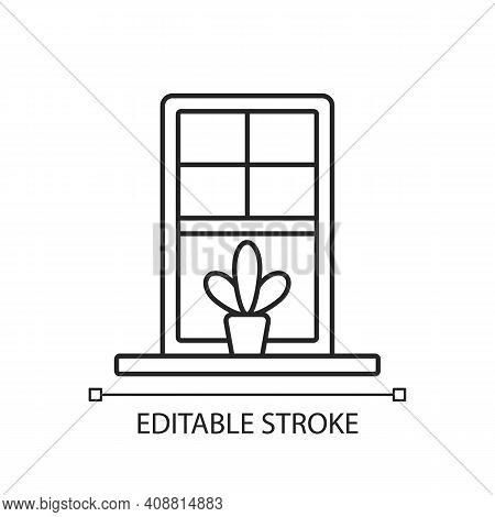 Windowsills Linear Icon. Window Ledge. Horizontal Structure, Surface At Window Bottom. Thin Line Cus