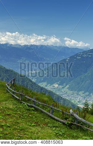 Mountain Landscape At Summer Along The Road From Mortirolo Pass To Aprica, In Sondrio Province, Lomb