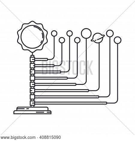 Line Space Science Icon Planets Orbit Layout. Classroom School Equipment Symbol. Science Research Ed