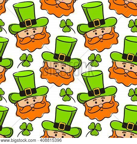 Seamless Pattern On The Theme Of St. Patrick's Day. White Background With Hand Drawn Leprechaun And