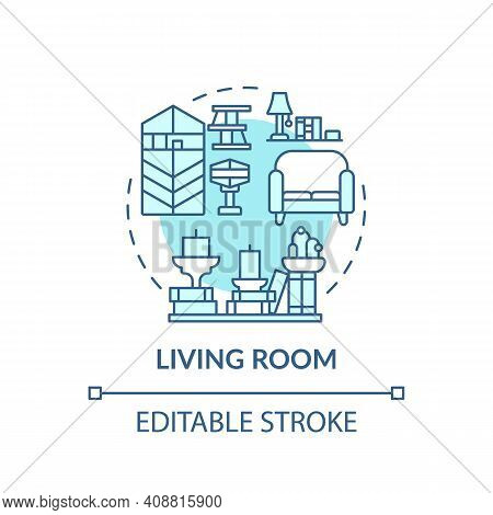 Lounge Concept Icon. Decluttering Idea Thin Line Illustration. Place For Relax And Spending Time Wit