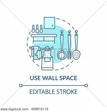 Using Wall Space Concept Icon. Crockery Hooks And Cookware On Wall Idea Thin Line Illustration. Free