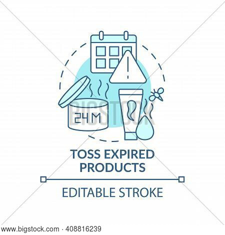 Toss Expired Products Concept Icon. Tidying Bathroom From Unnecessary And Expiration Date Idea Thin