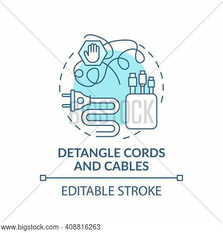 Detangle Cords And Cables Concept Icon. Fixing And Hiding Wires In Cable Cases Idea Thin Line Illust