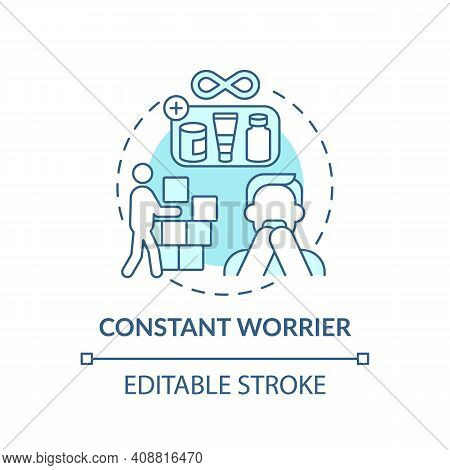 Constant Worrier Concept Icon. Purchases For Holiday Idea Thin Line Illustration. Clutter Of People